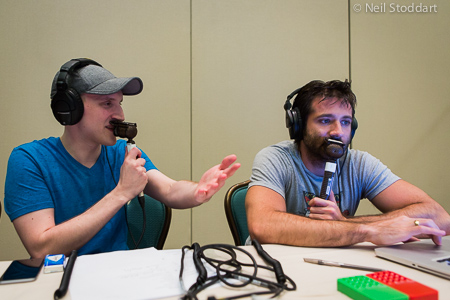 Jason (l) featured on the EPT Live stream at the PCA in January 2015
